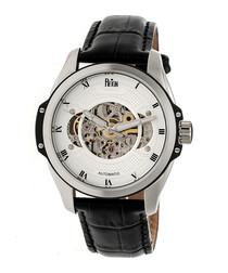 Henley black leather watch