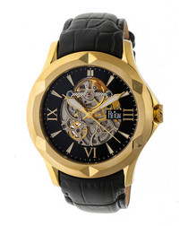 Dantes gold-tone & black leather watch