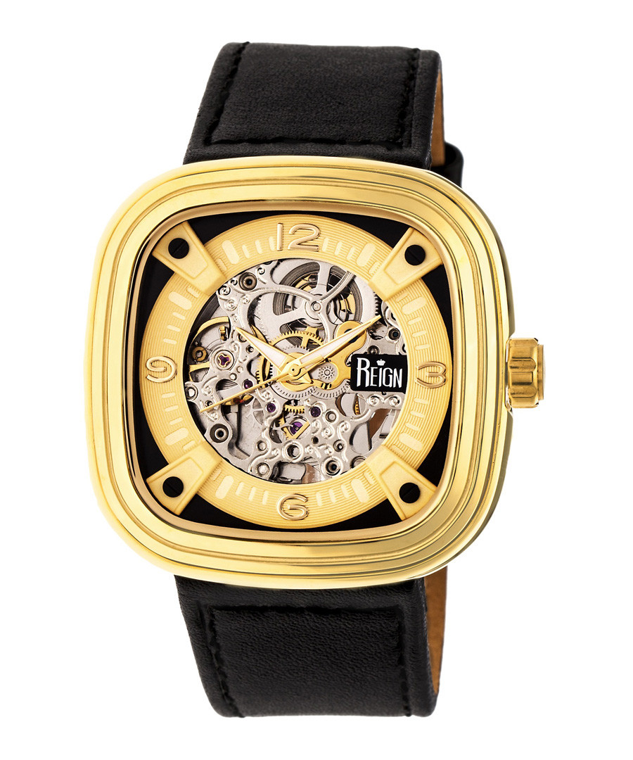 Nero gold-tone & black leather watch Sale - reign