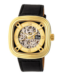 Nero gold-tone & black leather watch