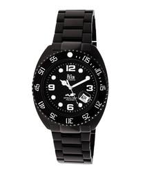 Quentin black steel watch