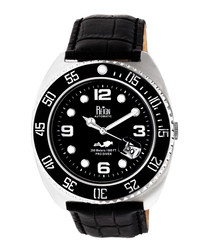 Quentin black leather watch