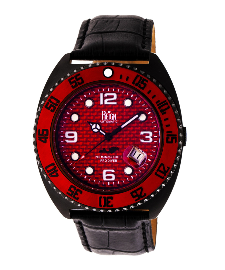 Quentin red & black leather watch Sale - reign