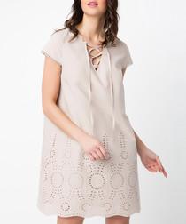 Beige cotton laser cut lace-up dress
