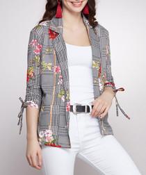 Grey floral print blazer