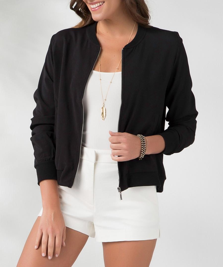 Black zip-up crew neck jacket Sale - MILAN KISS