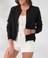 Black zip-up crew neck jacket Sale - MILAN KISS Sale