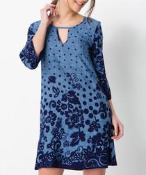 Dark blue embroidered mini dress