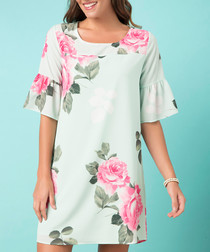 Mint rose print mini dress