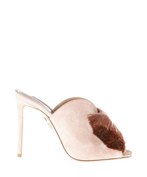 Pink suede pompom peeptoe mules