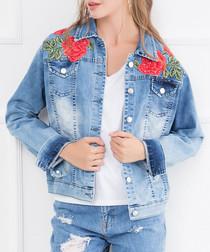 Blue cotton rose patch jacket