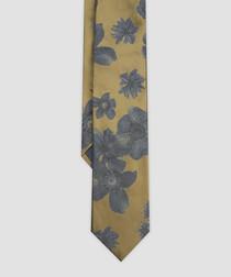 Cloud Burst yellow pure silk tie
