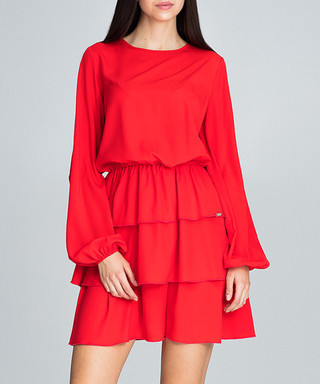 FIGL. Red overlay long sleeve dress 5c8639cd9