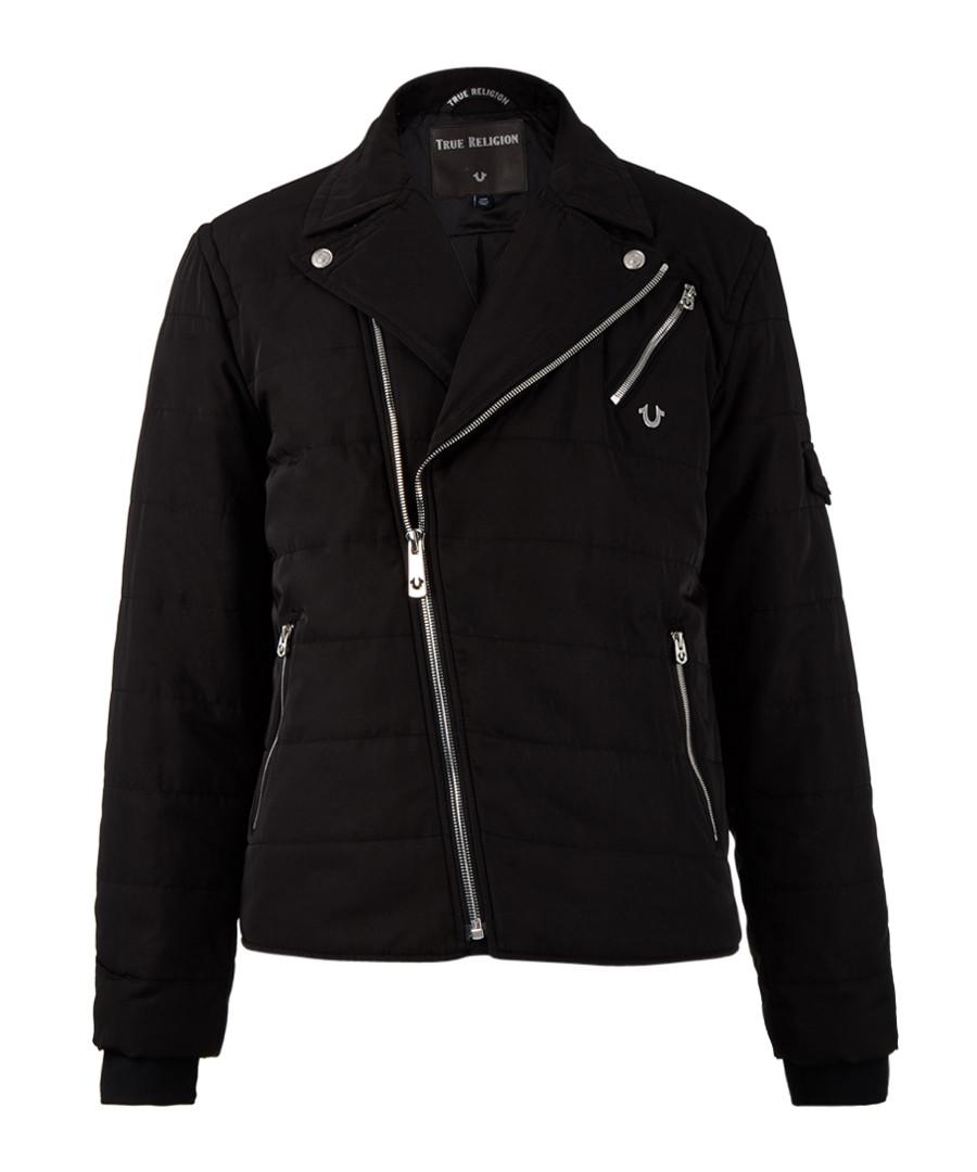 Black quilted zip-up jacket Sale - true religion