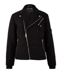 Black quilted zip-up jacket