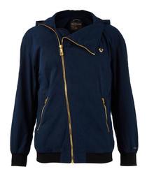 Dark blue contrast zip-up jacket