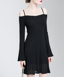 Black cotton cold-shoulder mini dress