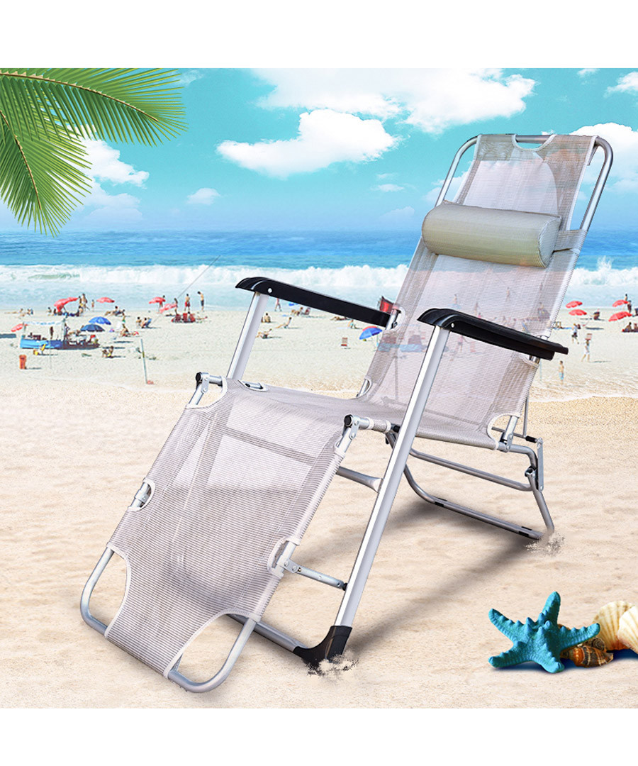 Grey foldable reclining chair  Sale - Outdoor Sunny