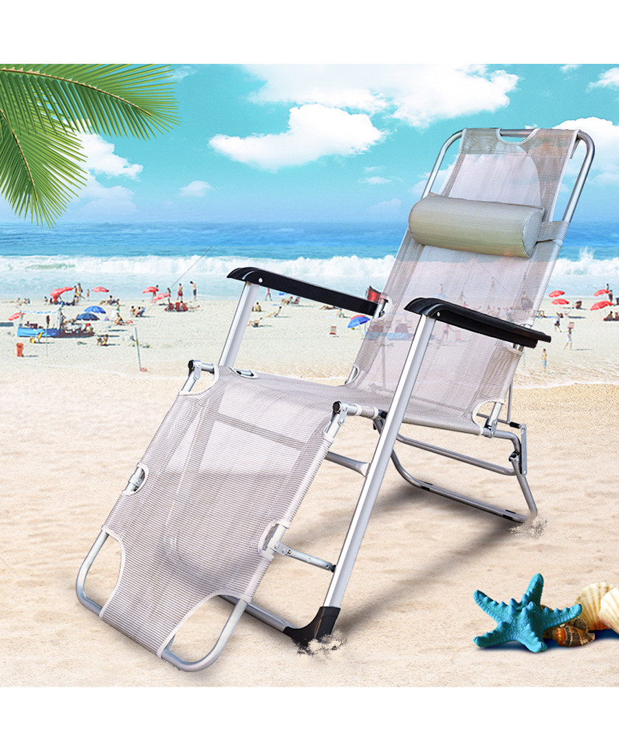 2pc grey foldable reclining chair set Sale - Outdoor Sunny