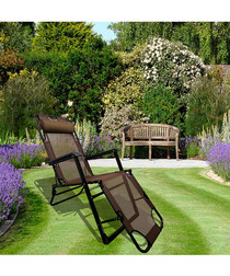 Brown foldable reclining chair