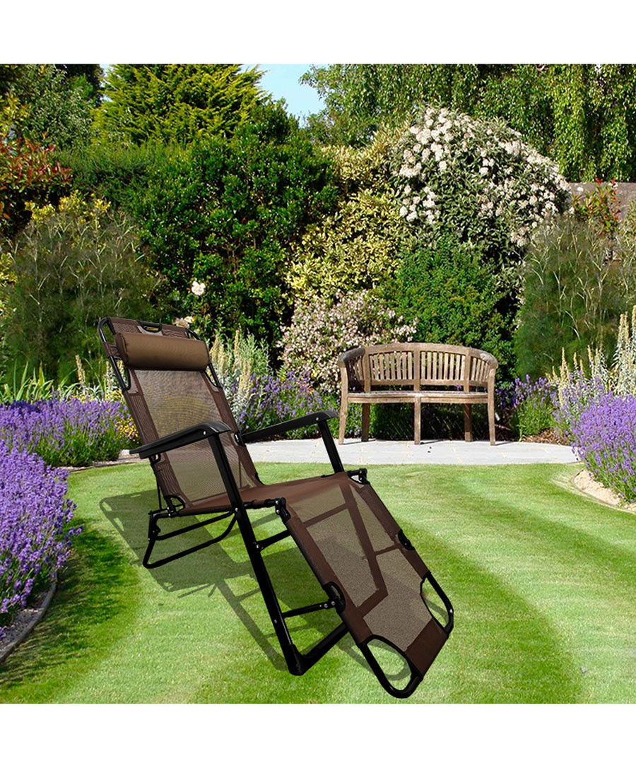 2pc brown foldable reclining chair set Sale - Outdoor Sunny