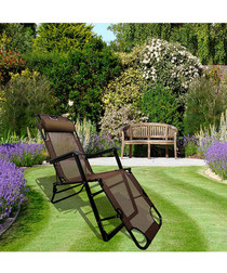 2pc brown foldable reclining chair set