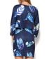Navy feather print tiered dress Sale - Katrus Sale