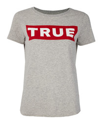 Grey & red pure cotton T-shirt
