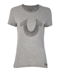 Heather grey cotton horseshoe T-shirt