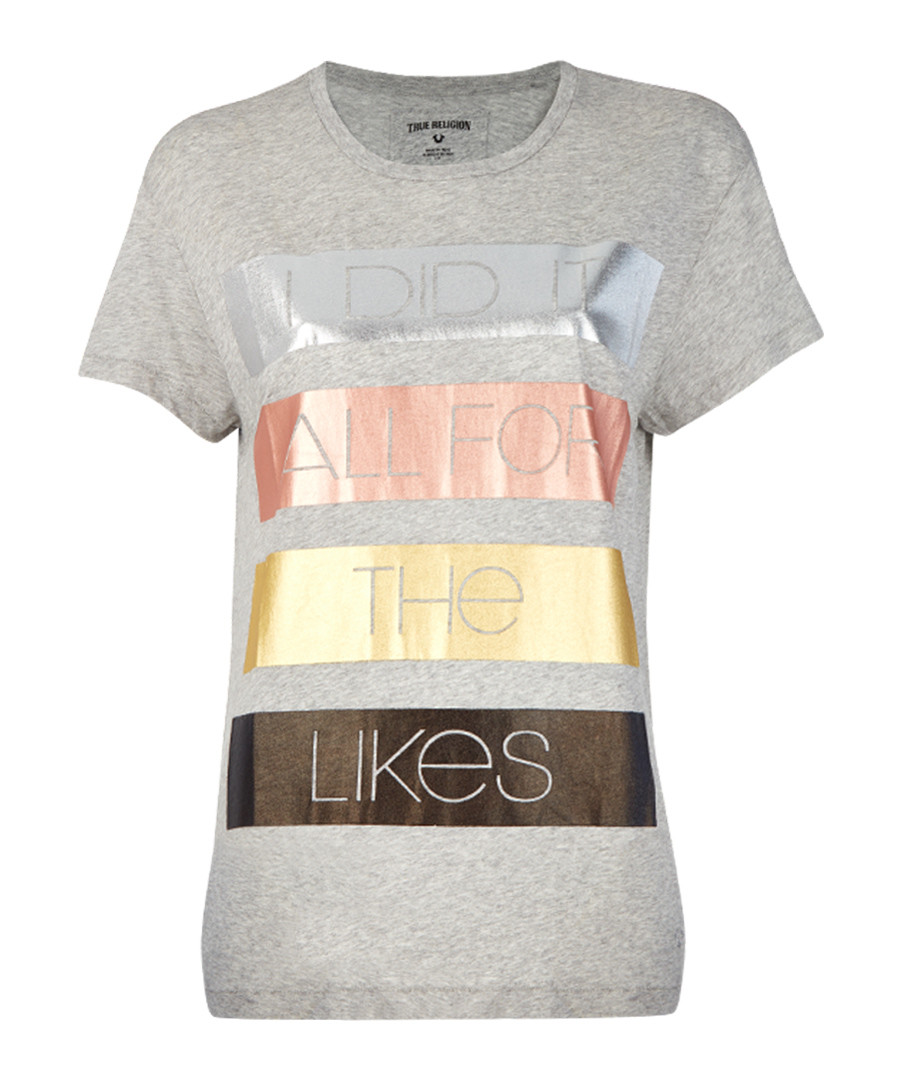 Metallic grey pure cotton T-shirt  Sale - true religion
