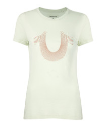 Embroidered sage pure cotton T-shirt