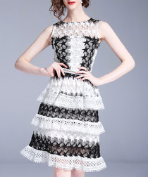 Black & white star lace tiered dress
