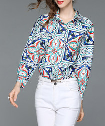 Blue tile print button-up shirt