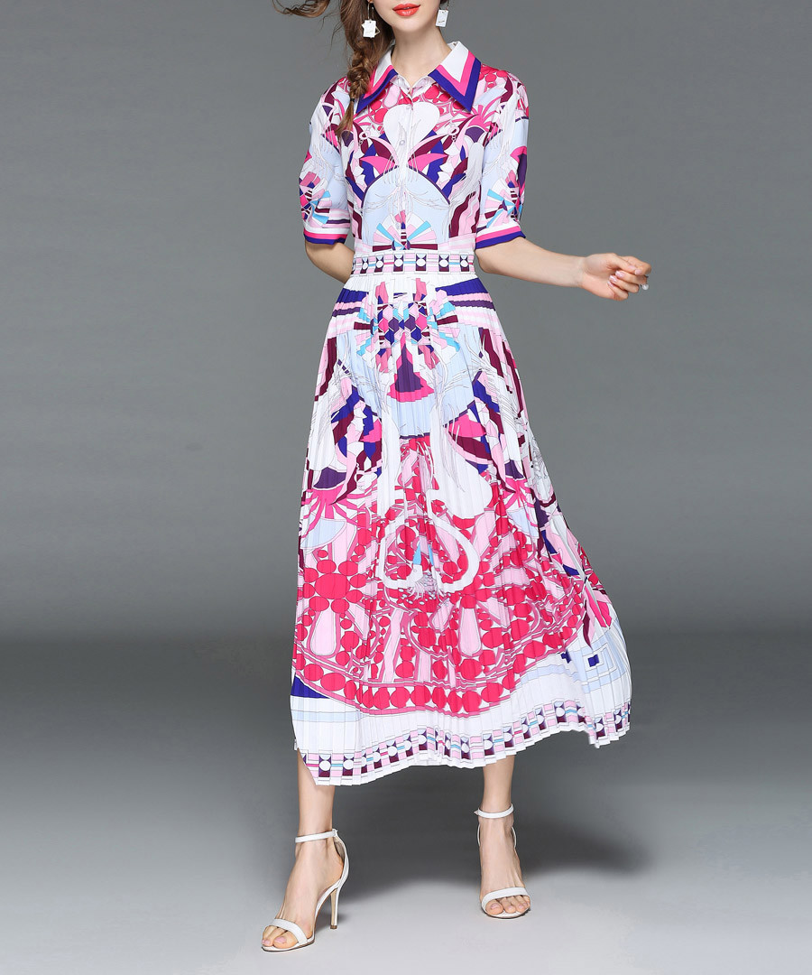 White & pink print shirt midi dress Sale - Ferraga