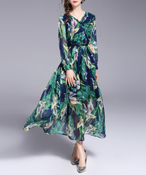Green & navy print wrap midi dress