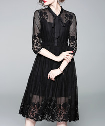 Black mesh shirt knee-length dress