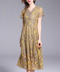 Yellow wrap lace knee-length dress