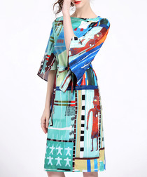 Blue print knee-length sheath dress