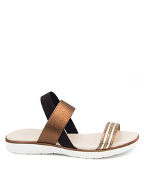 Bronze & black leather strappy sandals