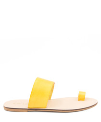 Mustard leather double strap sliders