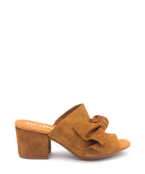 Brown leather bow peeptoe mules