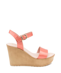 Coral leather strappy wedges