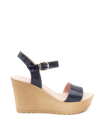 Navy blue leather strappy wedges