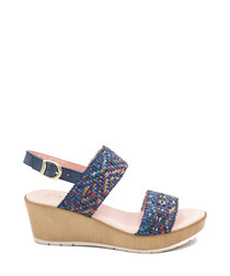 Navy blue leather weave-effect wedges