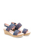 Navy blue leather weave-effect wedges Sale - EVA LOPEZ Sale