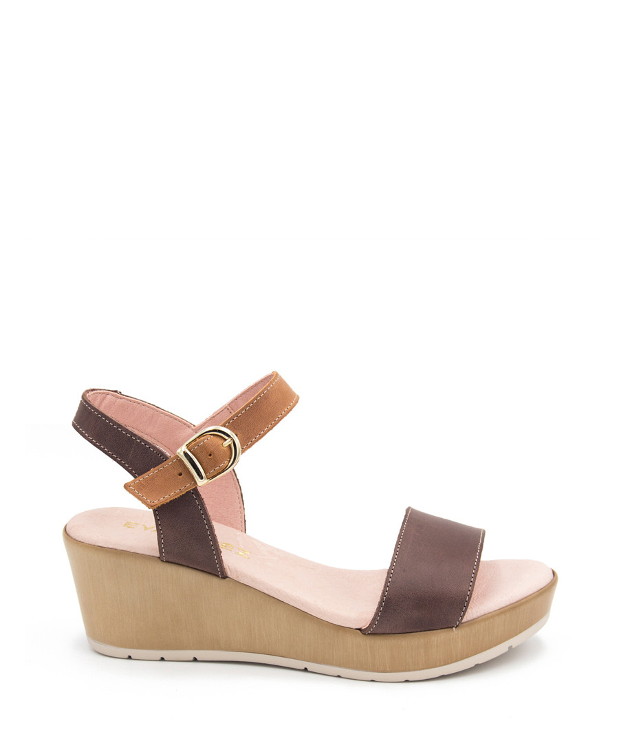 Mocha leather strappy wedges Sale - EVA LOPEZ