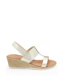 Gold-tone leather wedges