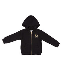 Boy's black cotton blend hoodie