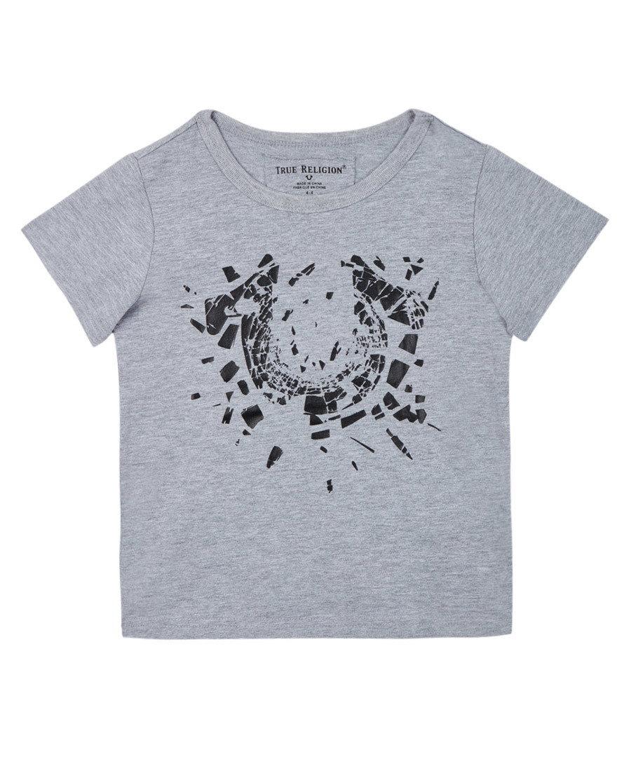 Boy's Shattered grey pure cotton T-shirt Sale - true religion