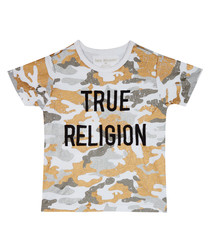 Boy's White cotton camouflage T-shirt